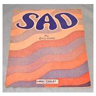 "Sheet Music c 1927 ""SAD"" by Larry Conley"
