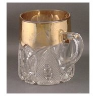 Early American Pattern Glass New Hampshire Mug with Gold Decoration