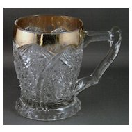 Early American Pattern Glass Mug Cane Horshoe, AKA Paragon with Gold Trim