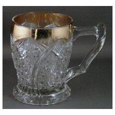 Early American Pattern Glass Mug Cane Horshoe, AKA Paragon with Gold Trim
