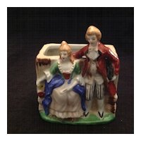 Occupied Japan glazed bisque planter with courtly couple