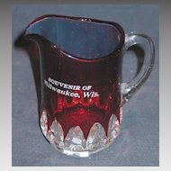 Almond Thumbprint Ruby Stained Creamer Souvenir