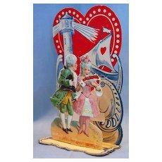 German Die Cut Fold-out Dimensional Valentine Card