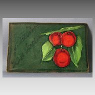 Leather Post Card with Flocked Cherry Add-ons and Handpainted Leaves