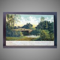 1908 Undivided Back Post  Card Rustic Bridge, Washington Park, Chicago