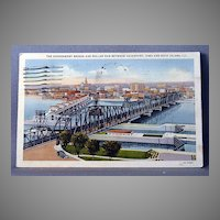 1937 Linen Post Card Government Bridge and Roller Dam