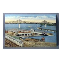 Vintage Linen Postcard Municipal River Terminal Burlington, Iowa
