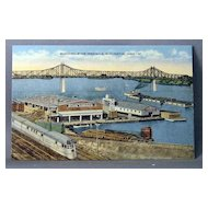 Vintage Linen Postcard Municipal River Terminal Burlington, Iowa