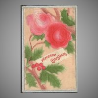 Flocked and Embossed Christmas Postcard