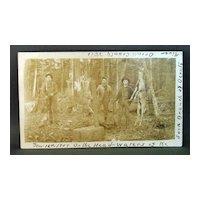 Real Photo Postcard 1909 Deer Hunting Camp Oconto County Wisconsin