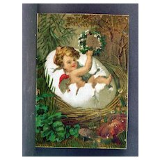 Trade Card Great Atlantic and Pacific Tea Co. Cherub Hatching From Egg