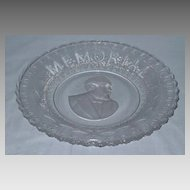 Garfield Memorial Bread Plate American Historical Glass