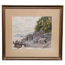 Vintage French watercolor signed Bouvier, 1925-Well executed vintage painting