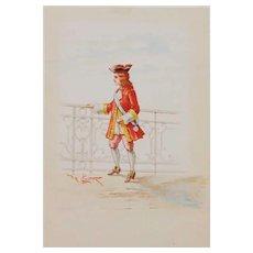 Italian (19th century)-Lodovico De Courten-2 watercolors(Free shipping)