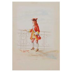 Rare circa 19th C - Italian-Lodovico De Courten-2 watercolors