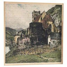 "Luigi Kasimir - ""St. Michael on the Danube""-original color etching-signed"