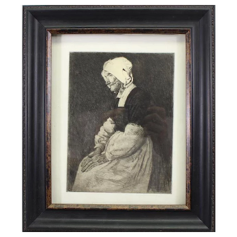 Rare Mortimer Menpes etching-Mother of Pont Aven (Marie Jeanne) + Free Menpes book