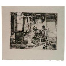 "Philip Kappel - ""Flies Versus Worms"" - original drypoint etching signed in pencil"