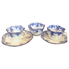 "Shelly ""Dainty Blue"" 2 cups, 2 saucers & open sugar bowl"