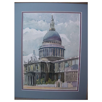 St. Paul's Cathedral, London-A well executed watercolor by a talented artist.