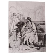 "Theodore Valerio (1819-1879) - ""Chef Albanais"" (Camp de Kalafat)1855 - original etching signed in the plate"