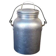 Vintage Aluminum Milk Pail / miners Bucket with lid & handle