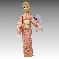 Vintage #3/4 ponytail Barbie Doll  wearing a custom  Kimono