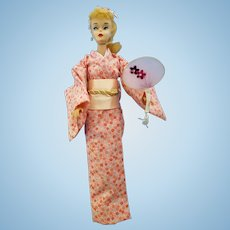 Vintage #3/4 ponytail Barbie Doll  wearing a custom  Kimono