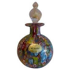 Vintage Murano Millefiori Art Glass Perfume Bottle with Label