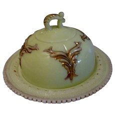 Vintage Heisey Custard Glass Covered Butter Dish with Gold Winged Scroll