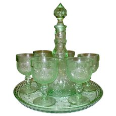 Vintage Chantilly Green Tiara Glass Decanter Tray and Wine Stemware Set