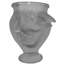 "Vintage Lalique ""Rosine"" Pattern Frosted Crystal Swirl Design Vase with Flying Doves"