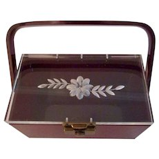 Vintage 1960's Lucite Box Handbag with Burgundy Base and Clear Etched Flower Lid