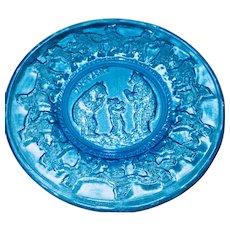Vintage Set of Four Deep Blue Tiara Pattern Depression Glass Nursery Rhyme Plates!
