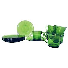 1970s Vintage Green Glass Espresso Cups and Saucers Set of 6