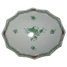 "Herend Green Chinese Bouquet 9"" Scalloped Tray"