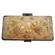 Vintage Oriental Hand Carved Cow Bone Pill or Trinket Box