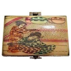Vintage Chinese Cow Bone Hand Carved & Painted Trinket Box