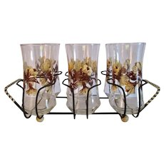 Mid Century Modern Set of Six Highball Glasses in a Carrier Tray