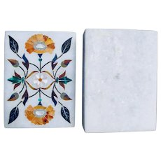 Vintage Parchin Kari Indian Hand Crafted Marble Inlay Trinket Box