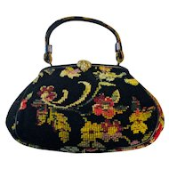 Vintage NeedlePoint Floral Tapestry Purse Circa 1950's