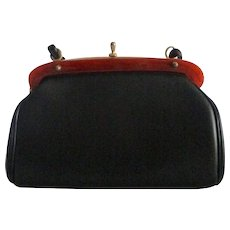 Crisp Frame Design Vintage Faux Black Leather Purse with Lucite Trim
