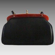Crisp Frame Design Vintage Faux Black Leather Purse with Lucite Trim