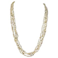 "Vintage Five Strand 23"" Cultured Rice Pearl Necklace with 14K Gold Fishhook Clasp"