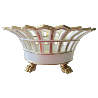 Vintage Reticulated White and Gilt Porcelain Console Bowl