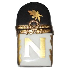 "Vintage Limoges ""N"" Perfume Bottle Trinket Box with French Atomizer & Joy Parfum"