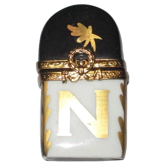 "Vintage Limoges ""N"" Perfume Bottle Trinket Box with French Atomizer & Joy Parfum"