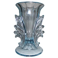 "Fostoria Baroque Blue Azure Fleur de lis 7"" Vase Circa 1930's"
