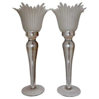 Vintage Circa 1980's Pedestal Candlesticks