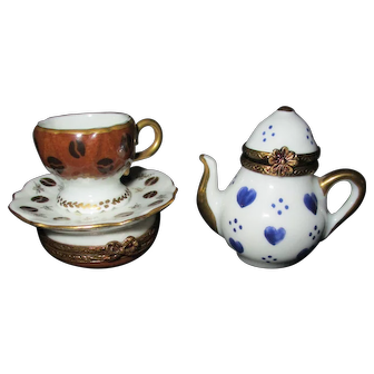 Pair of Vintage French Limoges Porcelain Trinket Boxes